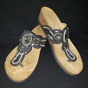 Croft & Barrow Ladies sz 9.5 black beaded sandal